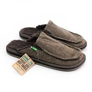 Sanuk Chillbasco Brown Furry Herringbone Slippers